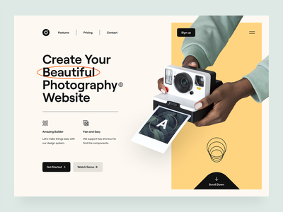 Frame – Hero Header Visual Exploration mobile illustration web design website web camera hand minimal clean main navigation header typography ux design ui design ux ui photography photographer soft color hero header