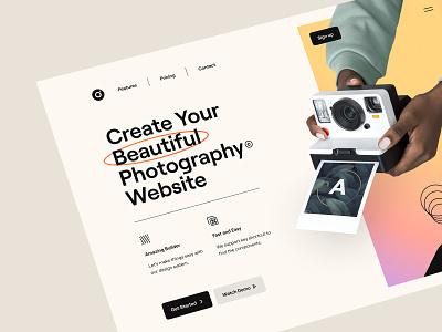 Frame – Hero Header Visual Exploration mobile illustration web design website web camera hand minimal clean main navigation header typography ux design ui design ux ui photography photographer soft color hero header