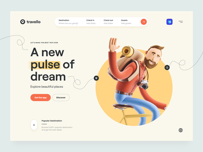 Travello – Travel Landing Page destination travel website travel app search input minimal clean navigation bar navigation soft color hero header typography 3d design 3d illustration 3d travel ux design ui design ux ui