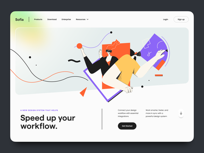 Sofia – Hero Header Exploration character human glass gradient design system navigation web design website web color illustration typography minimal clean landing page hero header ux design ui design ux ui