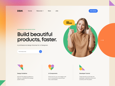 DSM. – Clean Hero Header v.2 minimal clean illustraion geometry icon icon button search box value proposition hero header landing page hero navigation geometric geometry blur gradient uxdesign ui design ux ui