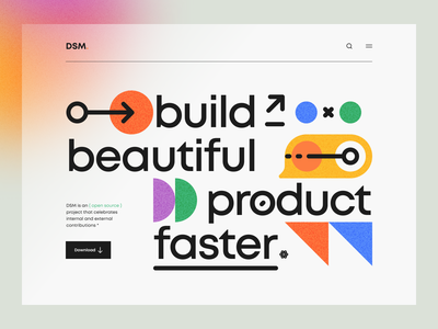 DSM – Hero Header v3 blur gradient dark theme dark minimal clean illustration design illustration navigation bar geometric geometry typography color design system landing page hero header ux design ui design ux ui