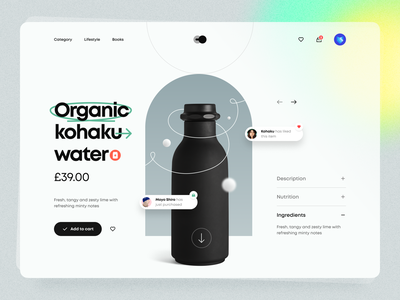 Køhaku – Product Page gradient shop cart delivery food drink water bottle typography dark theme dark mode toggle minimal clean product page product ux design ui design ux ui