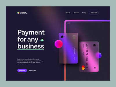 Wallet – Hero Header v.5 interface website web typography dark mode dark theme navigation glassmorphism blur gradient credit card illustration landing page hero header payment wallet ux design ui design ux ui