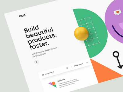 DSM – Hero Header v4 navigation bar dropdown glassmorphism gradient typography minimal clean search box pattern geometric geometry icon design system illustration 3d illustration 3d ux design ui design ux ui