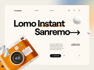 Lomography 📸 guideline grid price minimal clean illustration navigation hero header web camera product product page grid system typography ux design ui design ux ui