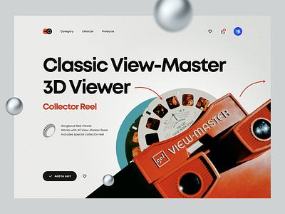 View-Master vr ecommerce shop typography minimal clean classic retro color navigation cart product page landing page hero header illustration 3d ux design ui design ux ui