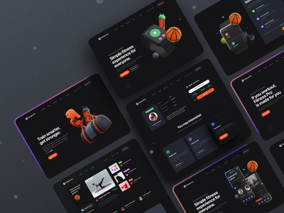 Fitness Pro 🏀Desktop version – Dark theme app website web userinterface template ui kit workout yoga fitness minimal clean typography 3d illustration 3d dark mode dark theme ux design ui design ux ui