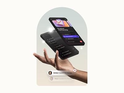 Task.io – Hero Header visual design productivity mobile app mobile gradient minimal clean hand 3d mockup 3d illustration typography landing page hero header task user interface ui design ux design ux ui