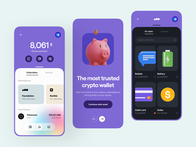 Crypto Wallet App 🐽 minimal clean onboarding marketplace crypto app wallet app illustration 3d illustration 3d mobile app mobile user interface ux design ui design ux ui app wallet crypto