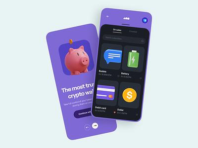 Crypto Wallet App 🐽 minimal clean onboarding marketplace crypto app wallet app illustration 3d illustration 3d mobile app mobile user interface ux design ui design ux ui app wallet crypto