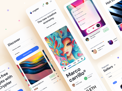 Crypter® – NFT Marketplace – Mobile version nft app app nftart dropdown card user minimal clean typography colorful navigation user interface mobile app mobile ux design ui design ux ui marketplace nft