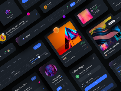 Crypter® – NFT Marketplace – Dark Components filter modal navigation online store cards ui card responsive web mobile app app ui kit dark component nft marketplace dark mode dark theme user interface ux design ui design ux ui