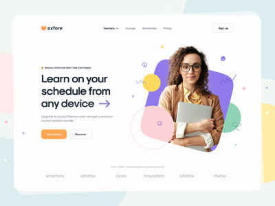 Oxfore – Learning app landing page geometric geometry colorful illustration typography learning app learning education website education app education minimal clean landing page hero header visual design user interface ux design ui design ux ui