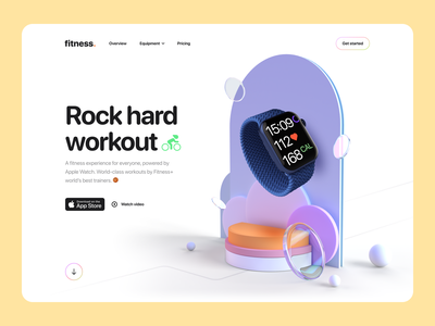 Fitness – Hero Header Concept landing page hero header 3d design web app website abstract apple tv minimal clean workout fitness 3d illustration illustration 3d concept 3d typography ux design ui design ux ui