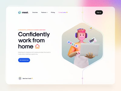 Meet. - Clean hero header concept landing page dark theme dark mode ui illustration illustration 3d illustration 3d online meeting typography clean website website web minimal clean chat meet ux design ui design ux ui