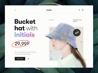 Kohaku – Product Page header hero header color palette bucket hat fashion ecommerce shop ecommerce app ecommerce illustration gradient typography user interface website web product page product ux design ui design ux ui