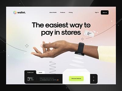Wallet v.7 ⌚️ 3d interface user interface typography minimal clean hero header gradient wallet credit card banking payment watch hand web design web ux design ui design ux ui
