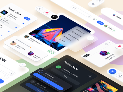 Crypter Component website app web design system isometric design isometric illustration isometric interface component navigation header minimal clean light mode dark mode user interface ux design ui design ux ui