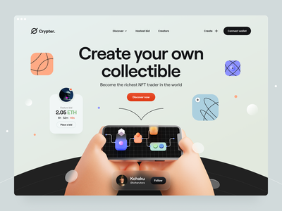 Crypter® - Hero Concept nft navigation typography minimal illustration 3d illustration hand artwork abstract 3d app web design website web hero header ux design ui design clean ux ui