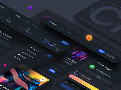 Crypter Component – Dark Theme 3d app website mobile glass effect gradient user interface interface isometric design isometric illustration isometry isometric typography dark theme dark mode illustration ux design ui design ux ui