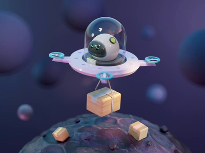 Space shipping motion animated animation color texture material render redshift planet ufo shipper shipping space 3d character character cinema4d c4d illustration 3d illustration 3d