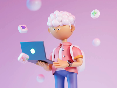 3D character – Mitom redshift c4d ui8 business macbook hair ui design 3d illustration illustration animated animation 3d icon icon computer man boy cute color 3d character 3d