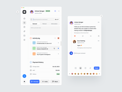 Minimal client panel – User interface emoji comment responsive table input tab search dropdown icon design icon nav bar sidebar user interface ux ui ux design web design minimal clean ui design