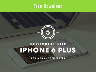FREE Photorealistic iPhone 6 Plus PSD Mockup Templates