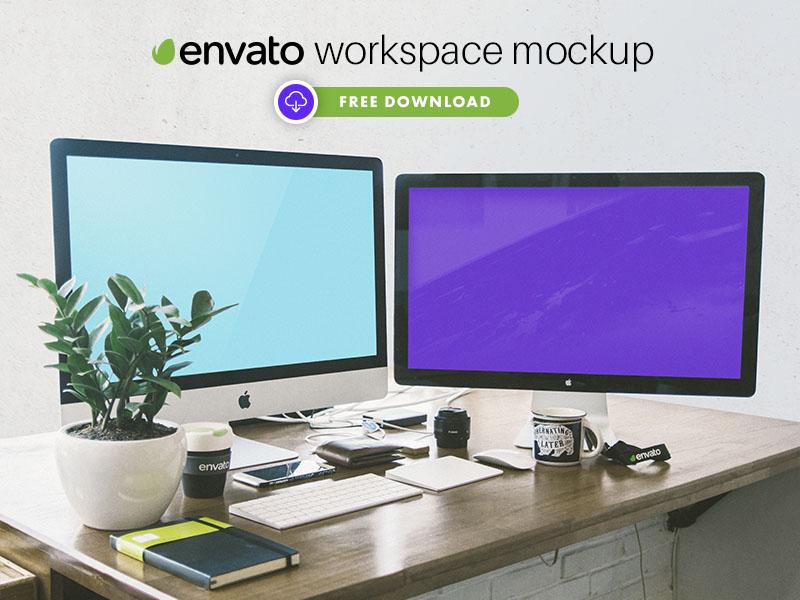 FREE Envato Workspace Mockup psd mockup mac mockup imac mockup imac 5k workspace mockup mockup workspace envato