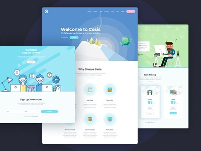 Cesis Flat Style on Behance flat icon agency website web design flat website pricing table green blue space one page landing page flat design flat style
