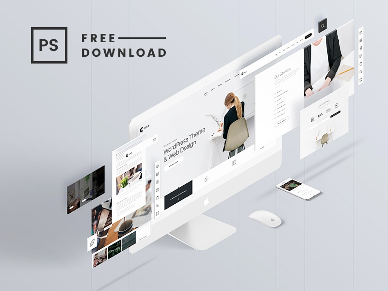 The Screens Free Perspective Psd Mockup Template By Tran Mau Tri