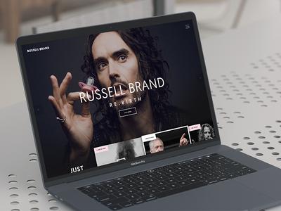 Russell Brand movie film dark home page dark landing page dark website dark style russell brand macbook pro macbook mockup dark ui