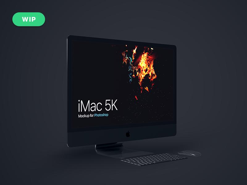 iMac 5K Mockup [W.I.P] freebies mockup template psd photoshop mockup psd mockup computer apple imac imac 5k