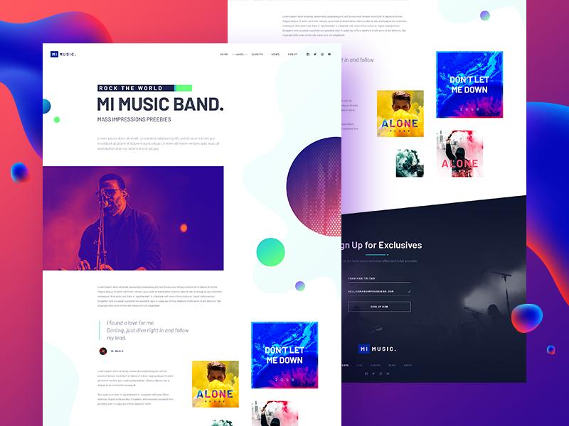 MIMUSIC [W.I.P] #3 | About music entertainment album band music album single singer theme template freebie psd template website