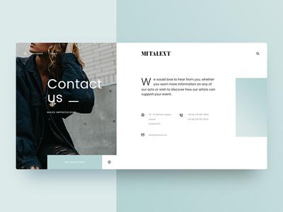 MITALENT | Contact Us direction ux design simple minimal clean design ui design entertainment fashion clean short info contact