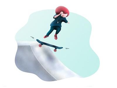 Little Skater - Illustration #3 cute apple pencil ipad pro procreate sport skate illustration girl little girl skateboarding skateboard skater