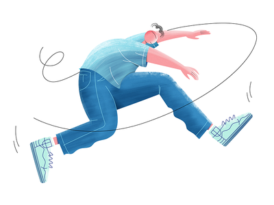 Meet ZERO water color gain brush blue cute people dancing jumping character illustrator illustrations illustration