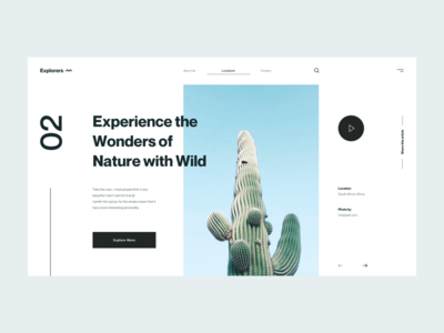 Explorers :: Cactus header slide blue typography hero header minimal clean ui design concept cactus explorers explores