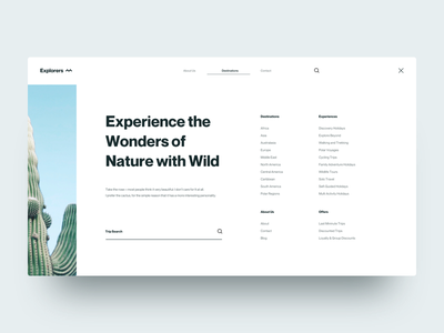 Explorers :: Cactus :: Menu white space minimal simple full width cactus menu open full menu full-screen menu blue explore travel