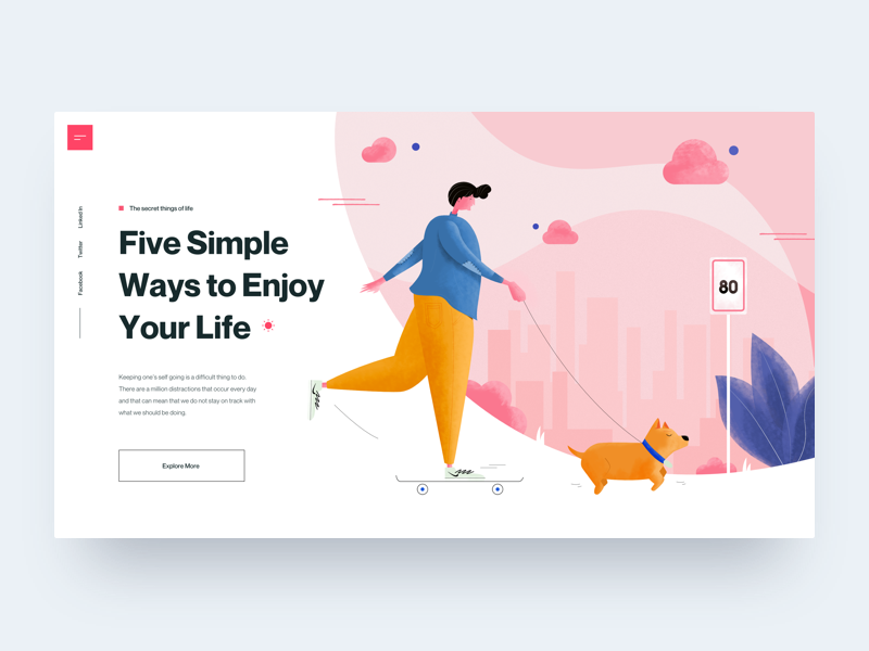 Enjoy Your Life :: Illustration illustrations character lifestyle ui design hero header landing page header pink man dog illustration skateboard