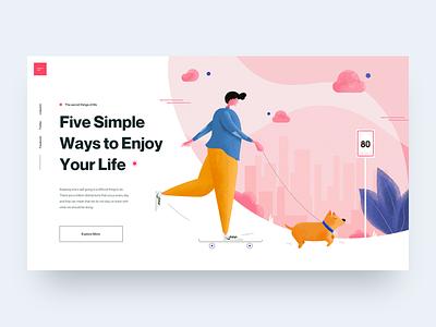 Enjoy Your Life :: Illustration illustrations character lifestyle ui design hero header landing page header pink man dog illustration skateboard