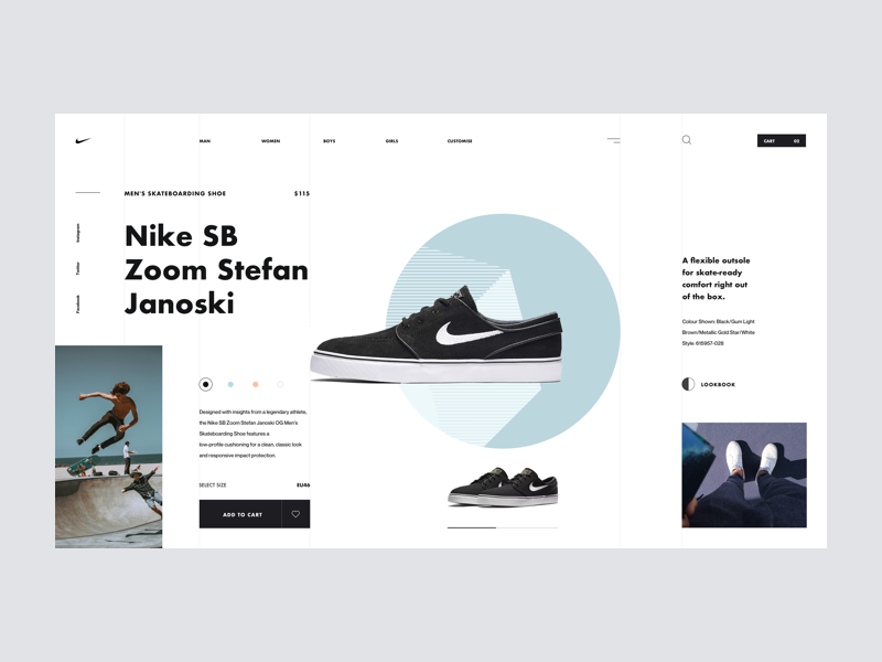 Nike SB minimal clean typography product cart shoes interaction ui design web design shop store nike