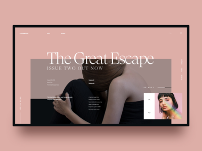 The Great Escape II :: Layout Exploration hero header landing page typography beauty beautiful women news magazine slide ui design layout pink