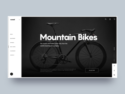Rureadi #1 :: Layout Exploration ux design web layout layout full screen ecommerce product one page landing page header slide typography side navigation side nav hero header black dark bike web design ui design clean