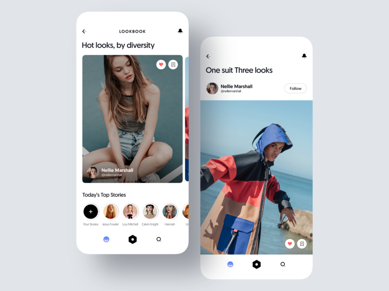 LOOKBOOK iphone x mockup iphone x mockups mockup ui interaction ux design user interface clear social network socialapp social collection photo stories fashion mobile app design mobile app mobile ui design clean