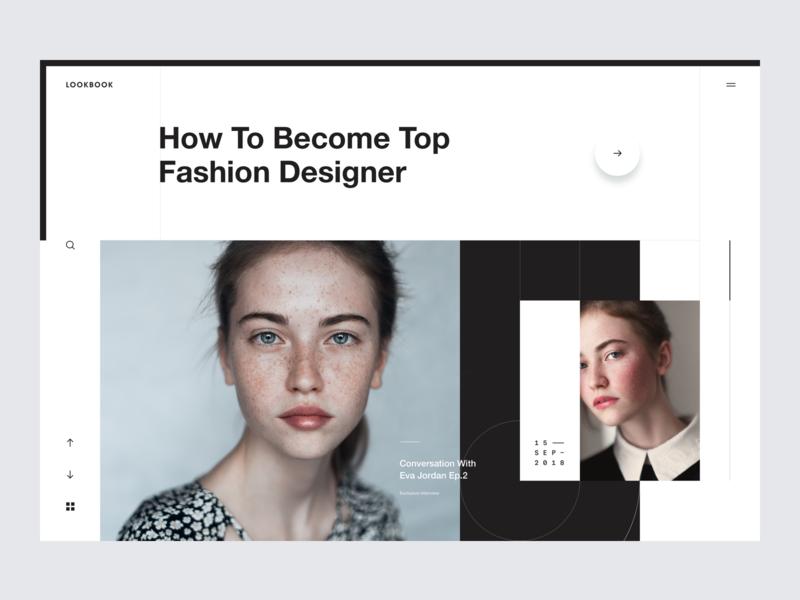 Fashion Designer transition slide typography clear news weblog magazine press landing page web layout minimal fashion designer fashion lookbook layoutdesign layout creative web design ui design clean