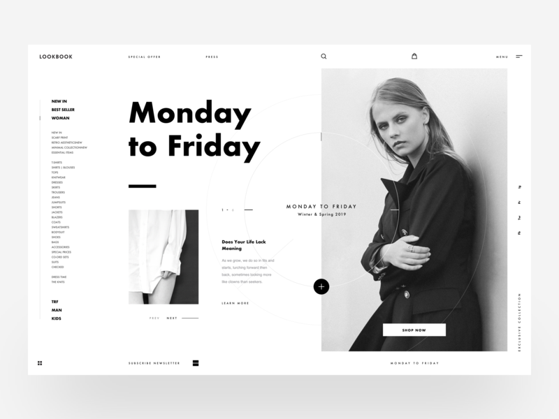 Lookbook :: Black & White shop design side menu sidenav typography interactive interaction design landing page slide userinterface vietnam circle black and white white fashion woman models minimal clean clean layout ui design