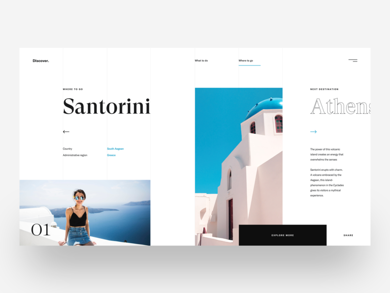 Santorini :: Discover :: Layout Exploration free download simple typography blue freelancing freelancer web design service minimal layout santorini travel website travel agency layouts discover travel tranmautritam minimal creative web design ui design clean