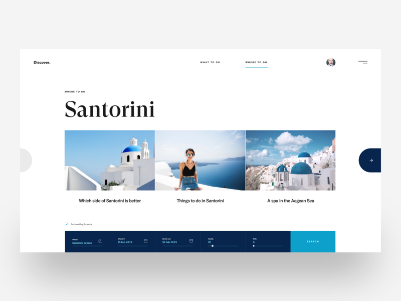 Santorini 2 :: Discover :: Layout Exploration clean ui design web design creative minimal tranmautritam travel discover layouts travel agency travel website santorini minimal layout web design service freelancer freelancing blue typography simple free download